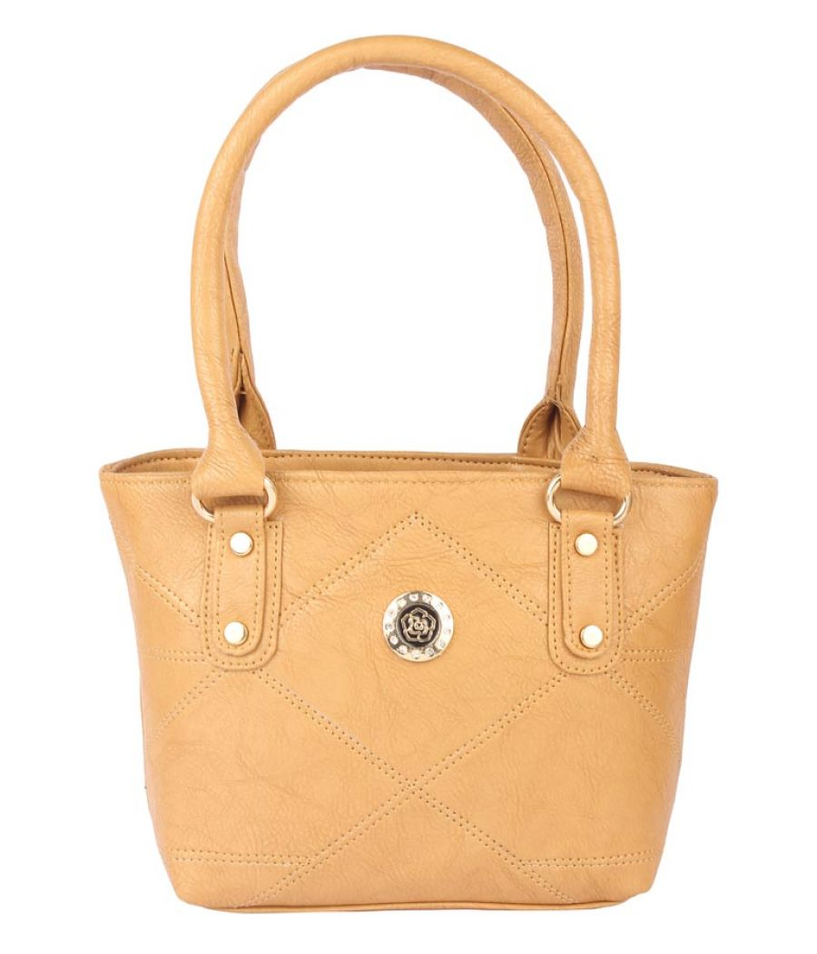 Aliado Faux Leather Mustard Coloured Zipper Closure Tote Bag