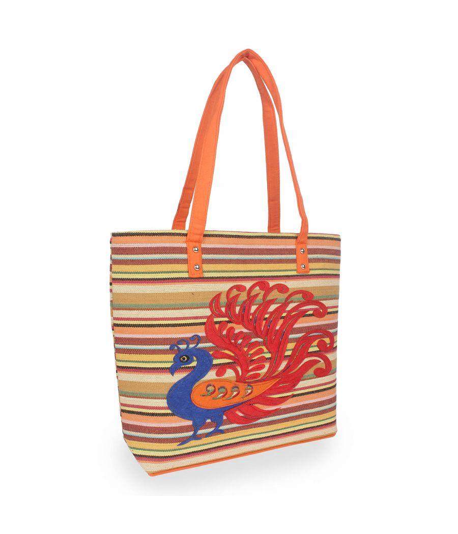 Aliado Polyester Multicolor Zipper Closure Casual Handbag