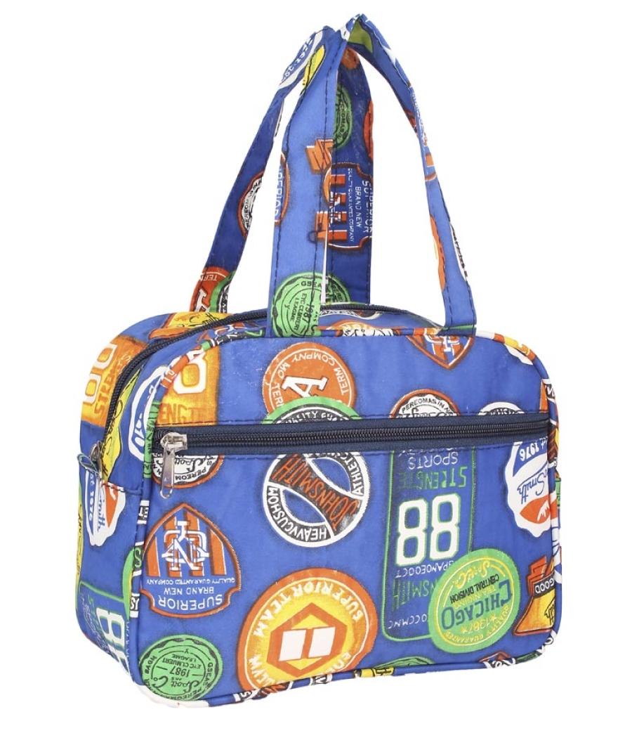 Aliado Cloth/Textile/Fabric Printed Blue & Multi Zipper Closure Handbag