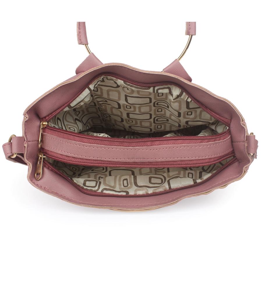 Aliado Peach Artificial Leather Zipper Closure Handbag