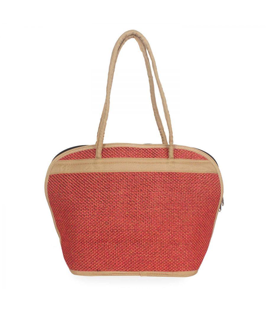 Aliado Textile Orange Color Zipper Closure Handcrafted Handbag