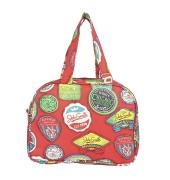 Aliado Cloth/Textile/Fabric Printed Red and  Multi Coloured Zipper Closure Handbag