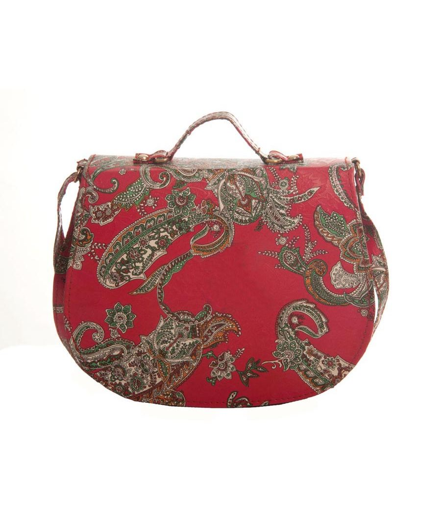 Envie Faux Leather Printed Red Magnetic Snap Crossbody Bag
