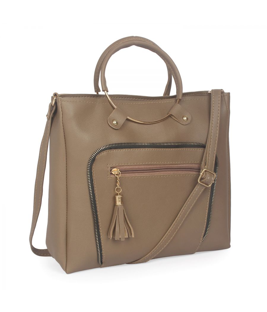 Aliado Bronze Artificial Leather Zipper Closure Handbag