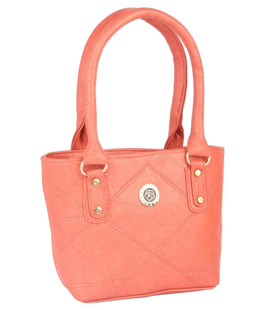 Aliado Faux Leather Peach Coloured Zipper Closure Tote Bag