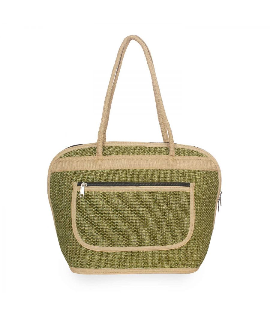 Aliado Textile Green Color Zipper Closure Handbag