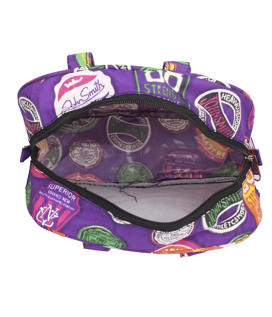Aliado Cloth/Textile/Fabric Printed Purple and Multi Zipper Closure Handbag