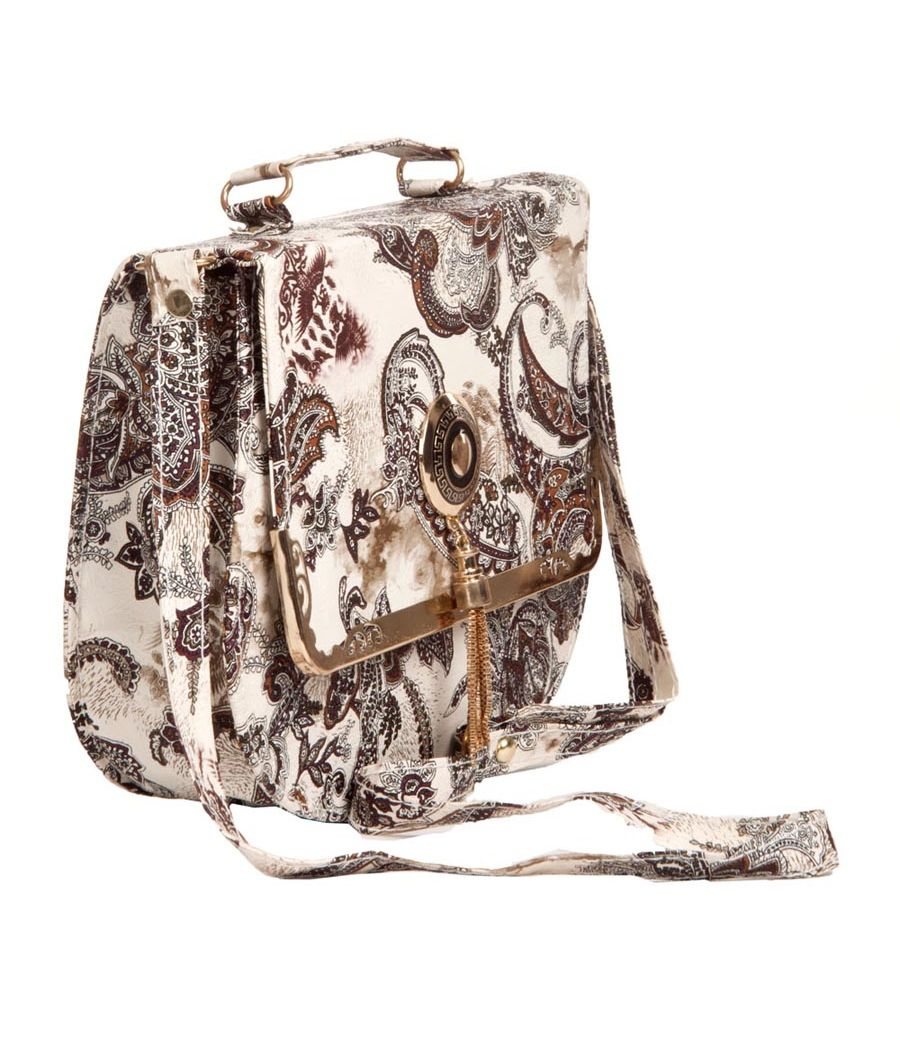 Envie Faux Leather Printed White & Black Magnetic Snap Crossbody Bag