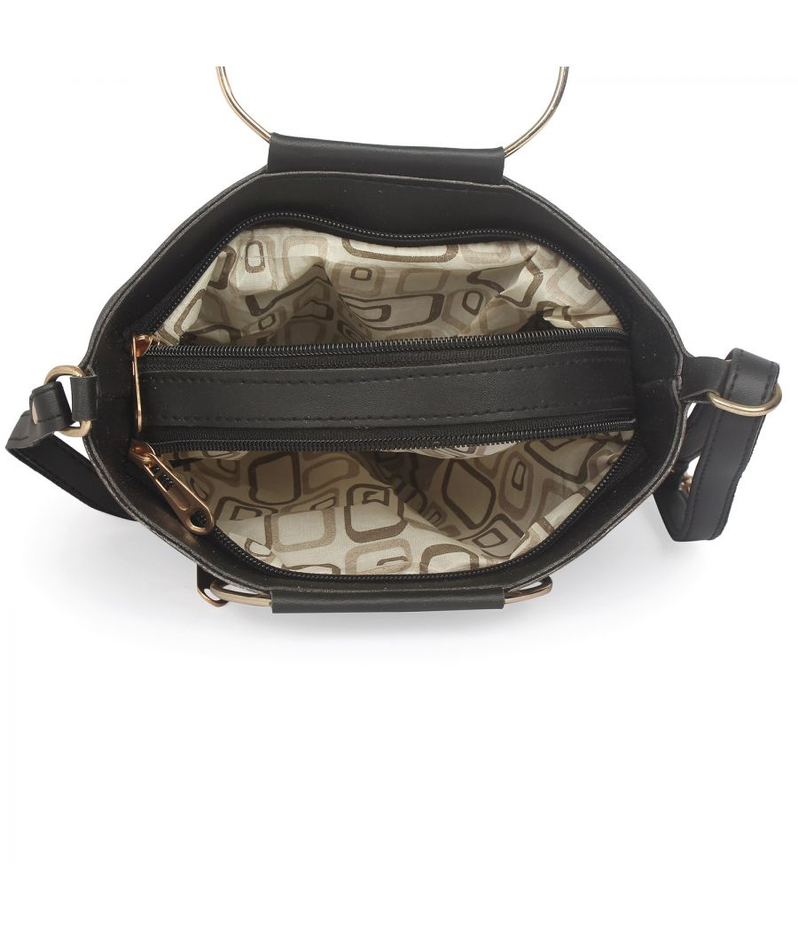 Aliado Black Artificial Leather Zipper Closure Handbag