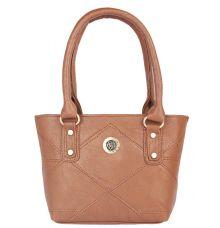 Aliado Faux Leather Coffee Brown Zipper Closure Tote Bag
