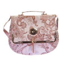 Envie Faux Leather Cream & Beige Magnetic Snap Sling Bag