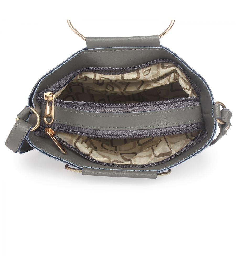 Aliado Gray Artificial Leather Zipper Closure Handbag