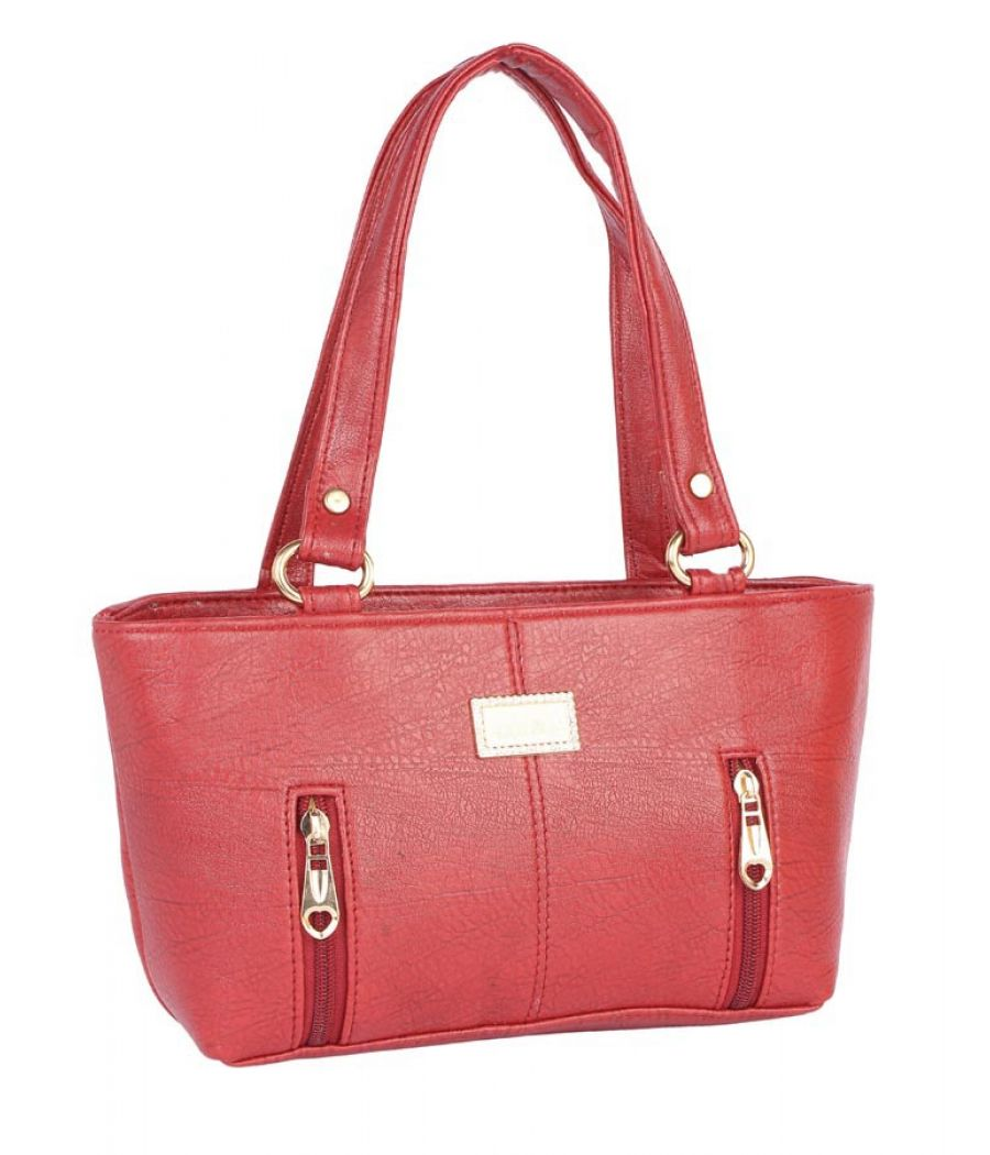 Aliado Faux Leather  Red      Coloured Zipper Closure Tote Bag