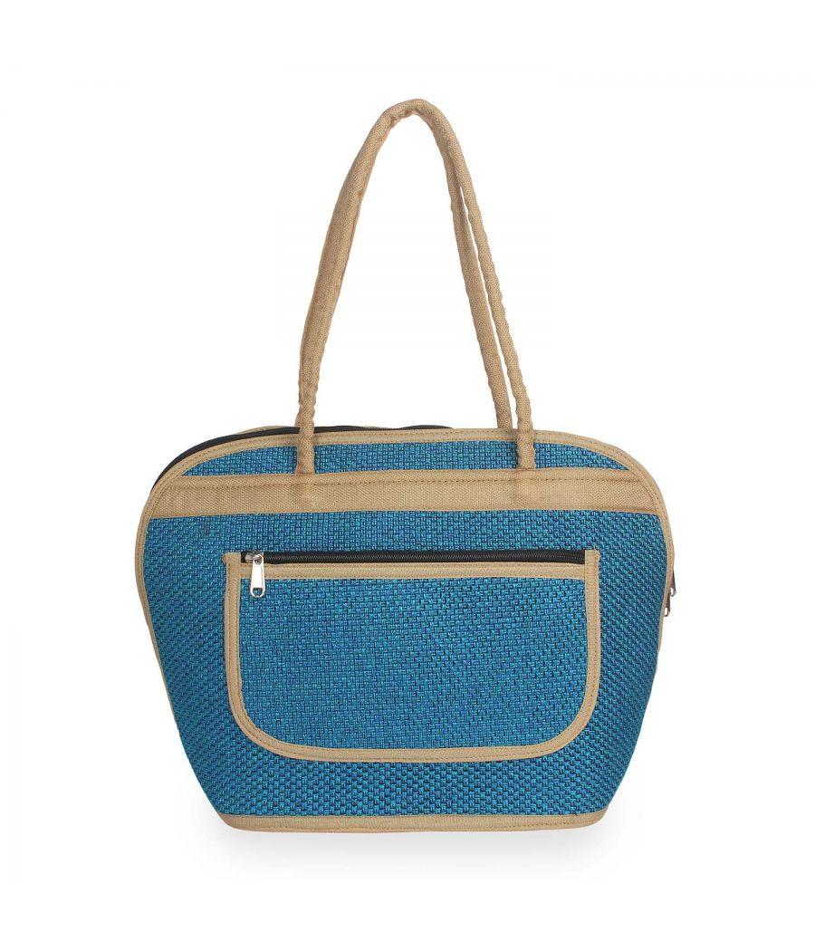 Aliado Polyester Blue Color Zipper Closure Handbag