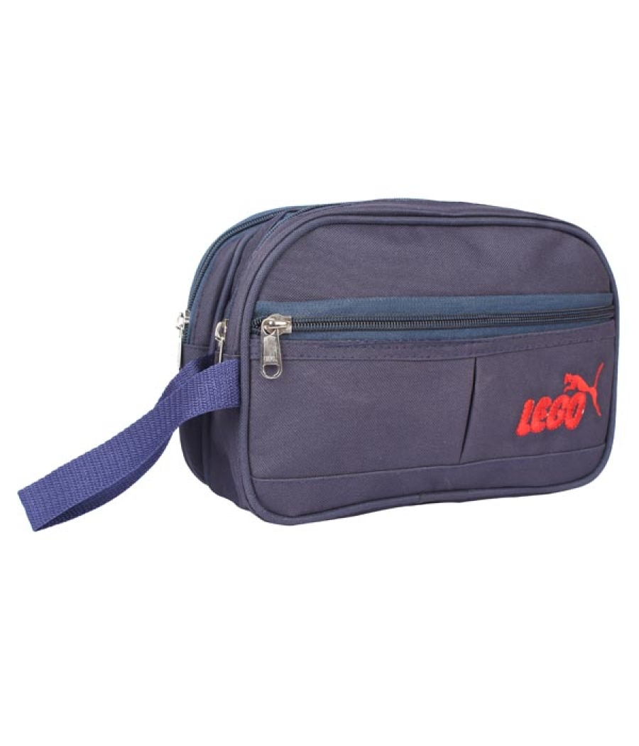 Envie Faux Leather Blue Coloured Zipper Closure Cosmetic Bag