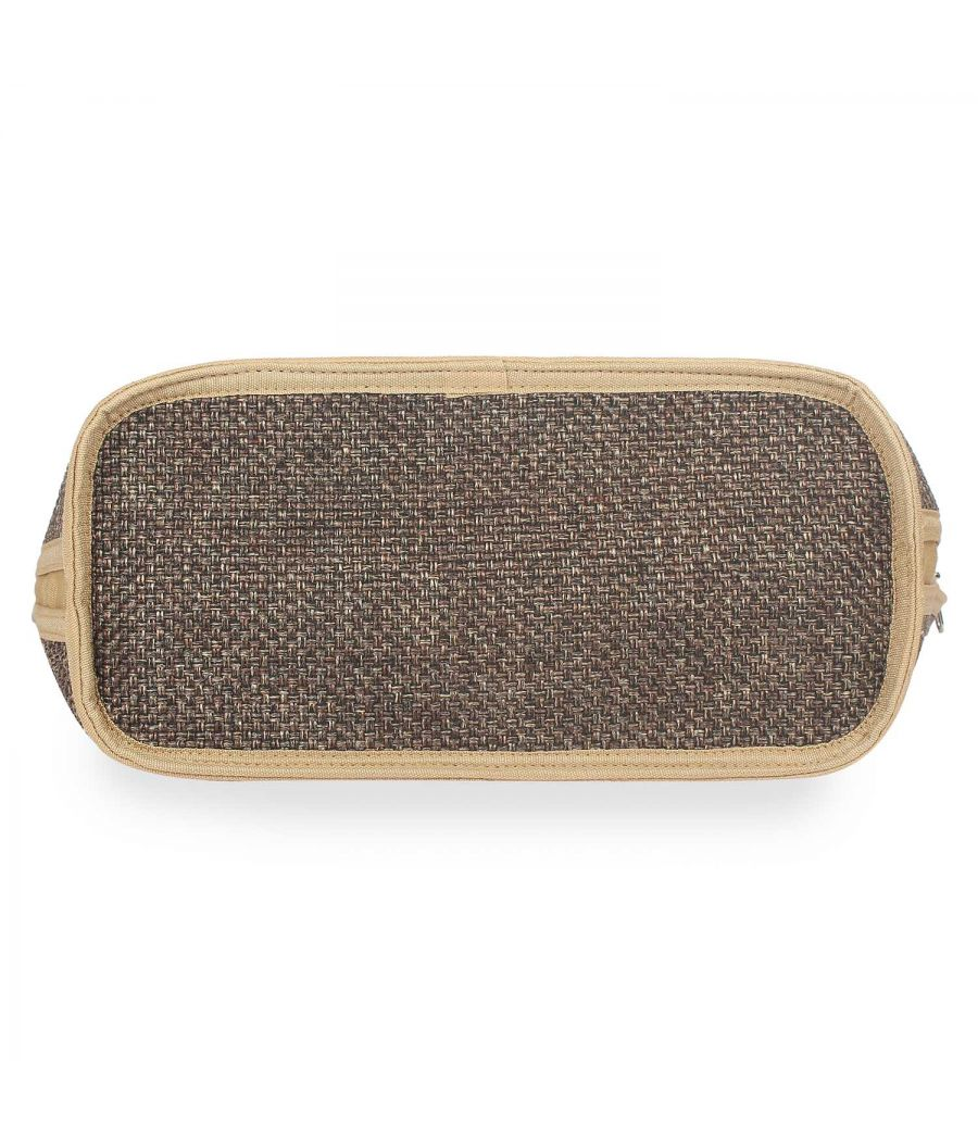 Aliado Polyester Coffee Brown Color Zipper Closure Handbag