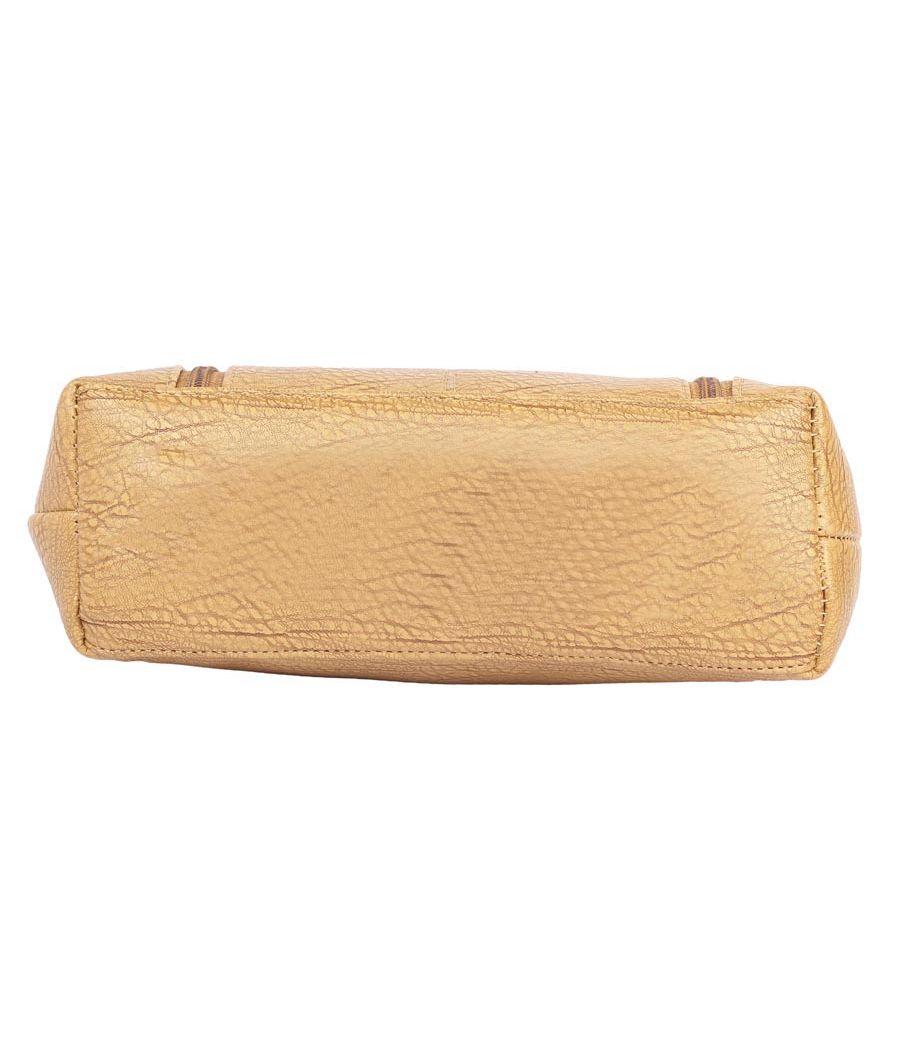 Aliado Faux Leather     Beige      Coloured Zipper Closure Tote Bag