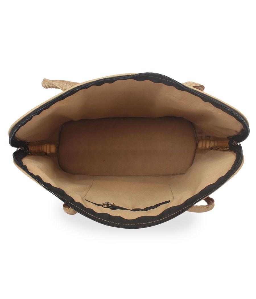 Aliado Textile/FabricGrey Zipper Closure Handcrafted Casual Handbag