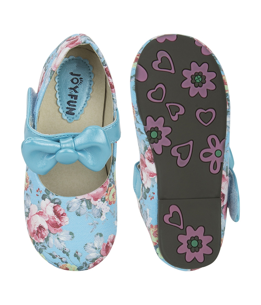 Joy n Fun Printed Leather Front Strap with Bow Blue Party Wear Shoes for Baby Girls