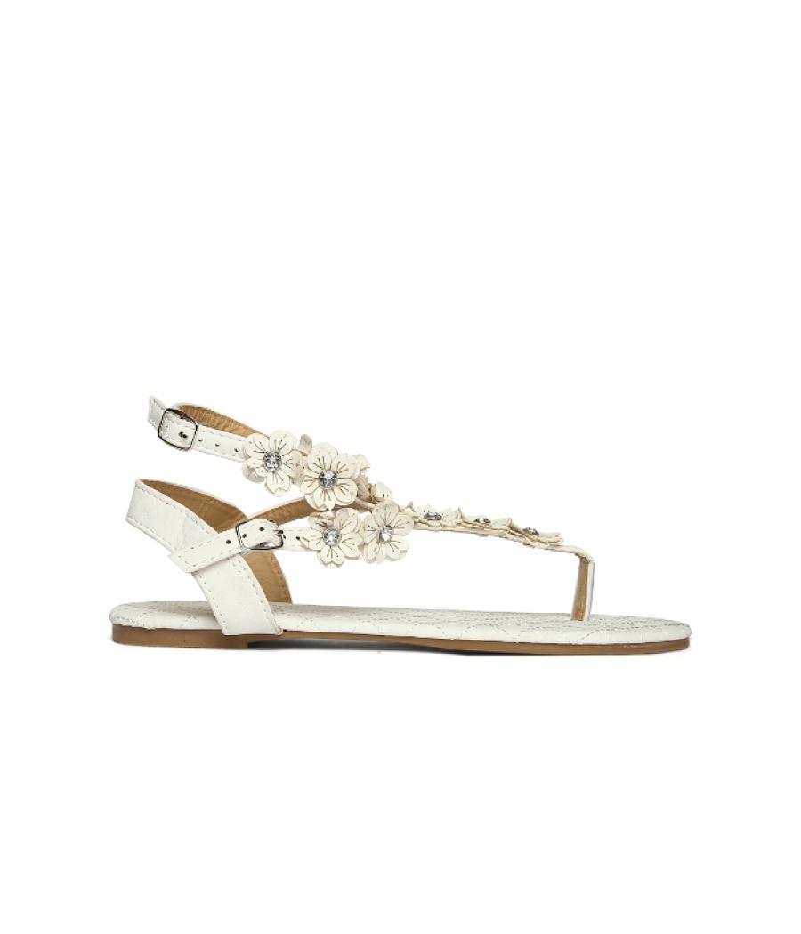 Estatos White Buckle Closure Ankle Strap Open Toe Casual Flat Sandals