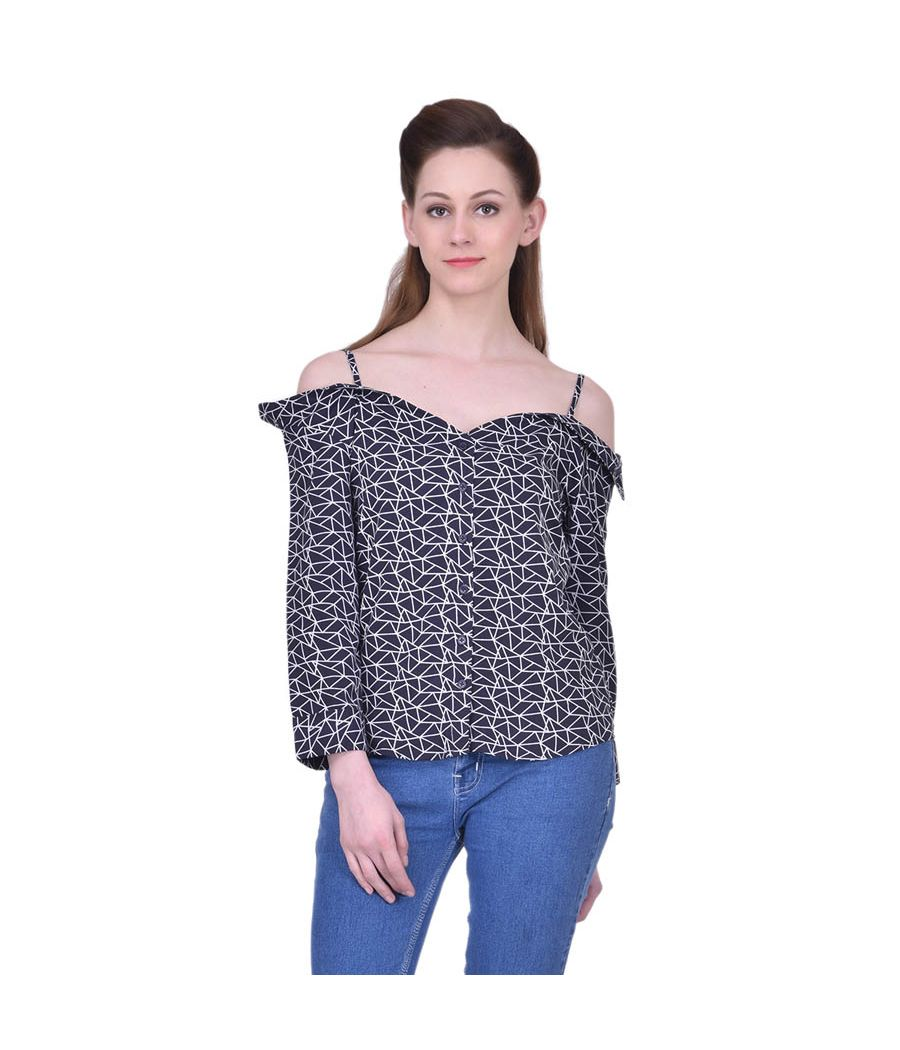 Estance Crepe Abstract Print White & Navy Blue Off Shoulder Casual Top