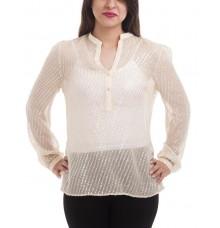 Etashee Certified Georgette Plain Self Design Full Sleeved Collared Neck Puff Sleeves Regular Top