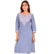 Rangriti Cotton Embroidered Blue/White Kurti