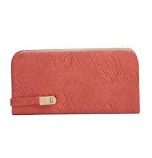 Envie Faux Leather Peach Magnetic Snap Lock Croc Pattern Minaudiere Clutch