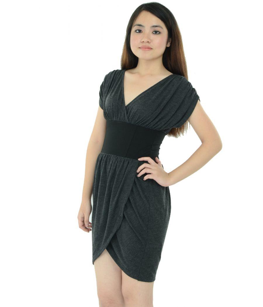 Grey Wrap Mini Dress