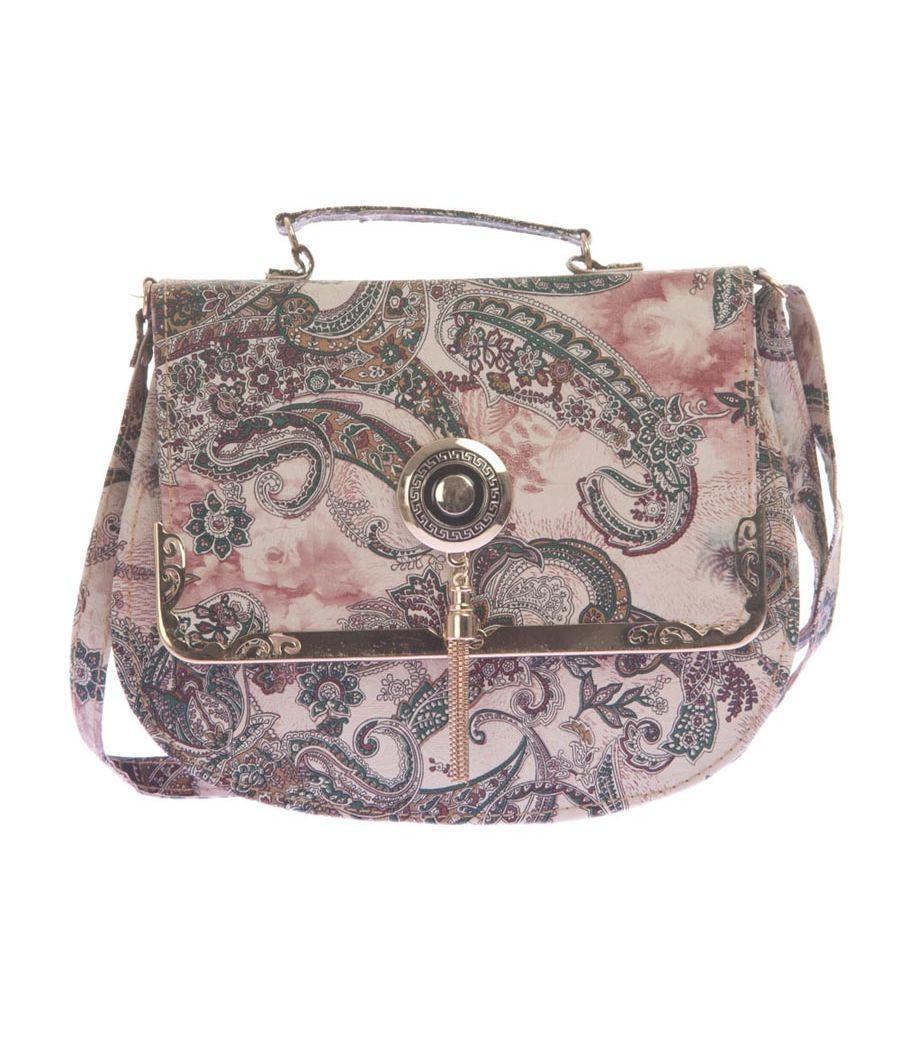 Envie Faux Leather Beige and Multi Colour Printed Sling Bag
