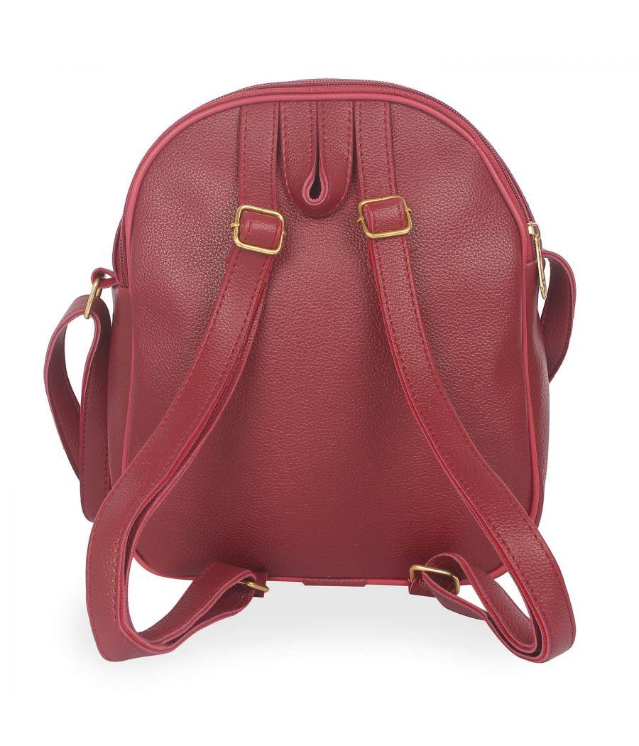 Aliado Polyester Printed Maroon Zipper Closure Handbag