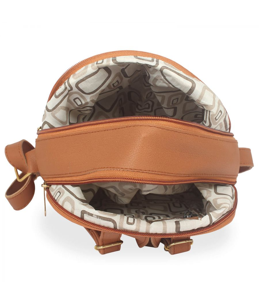 Aliado Polyester Printed Brown Zipper Closure Handbag
