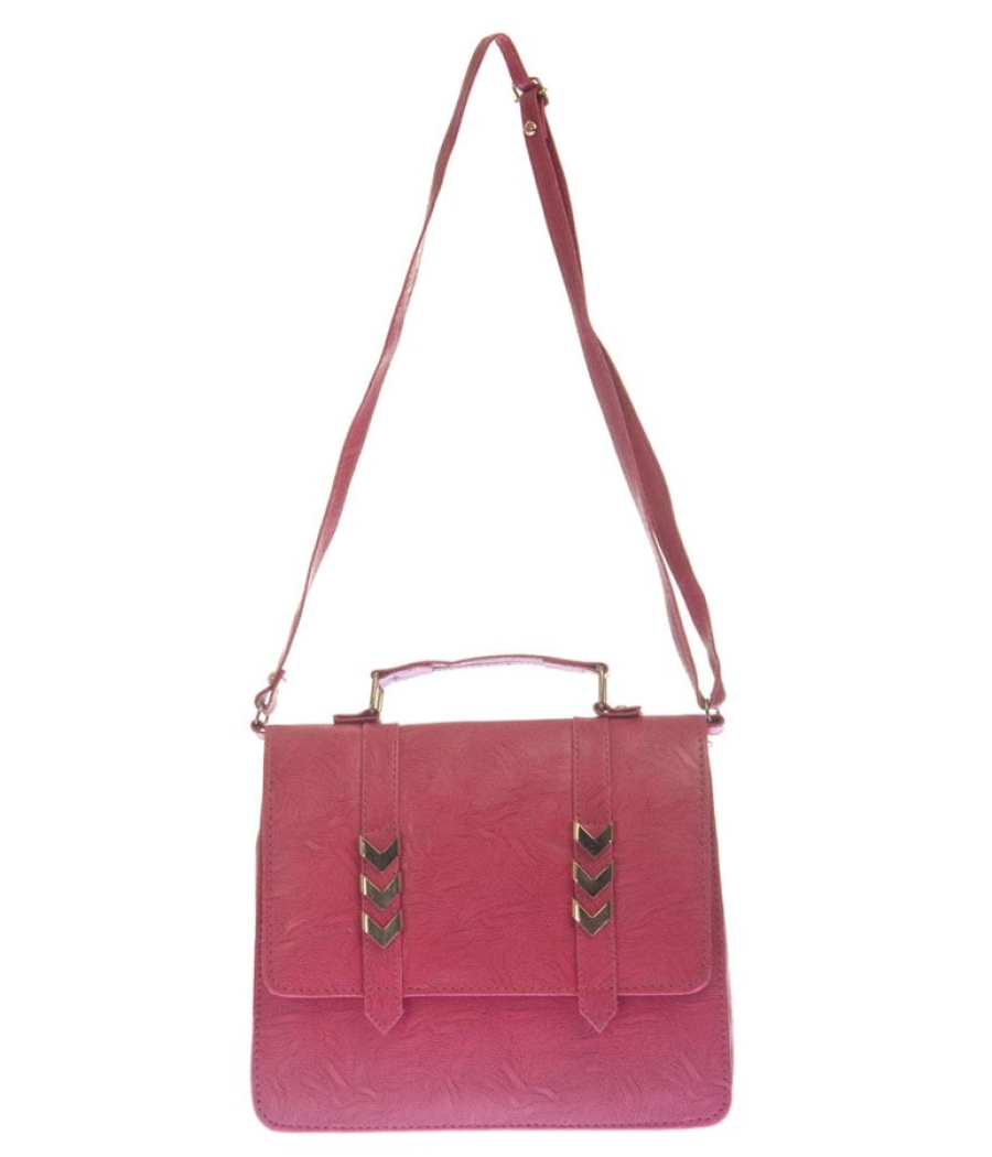 Envie Faux Leather Pink Solid Sling Bag