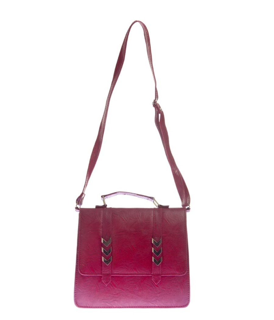 Envie Faux Leather Maroon Solid Sling Bag