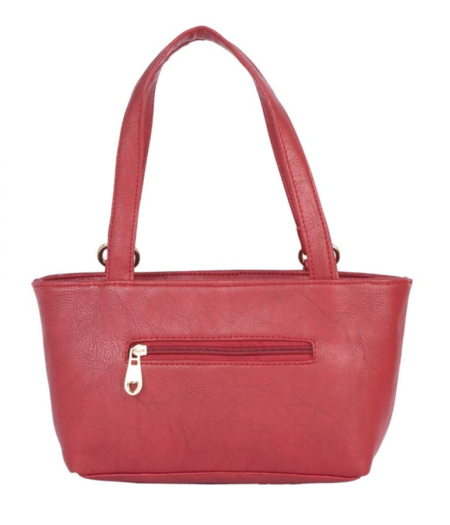 Aliado Faux Leather Magenta                Coloured Zipper Closure Tote Bag
