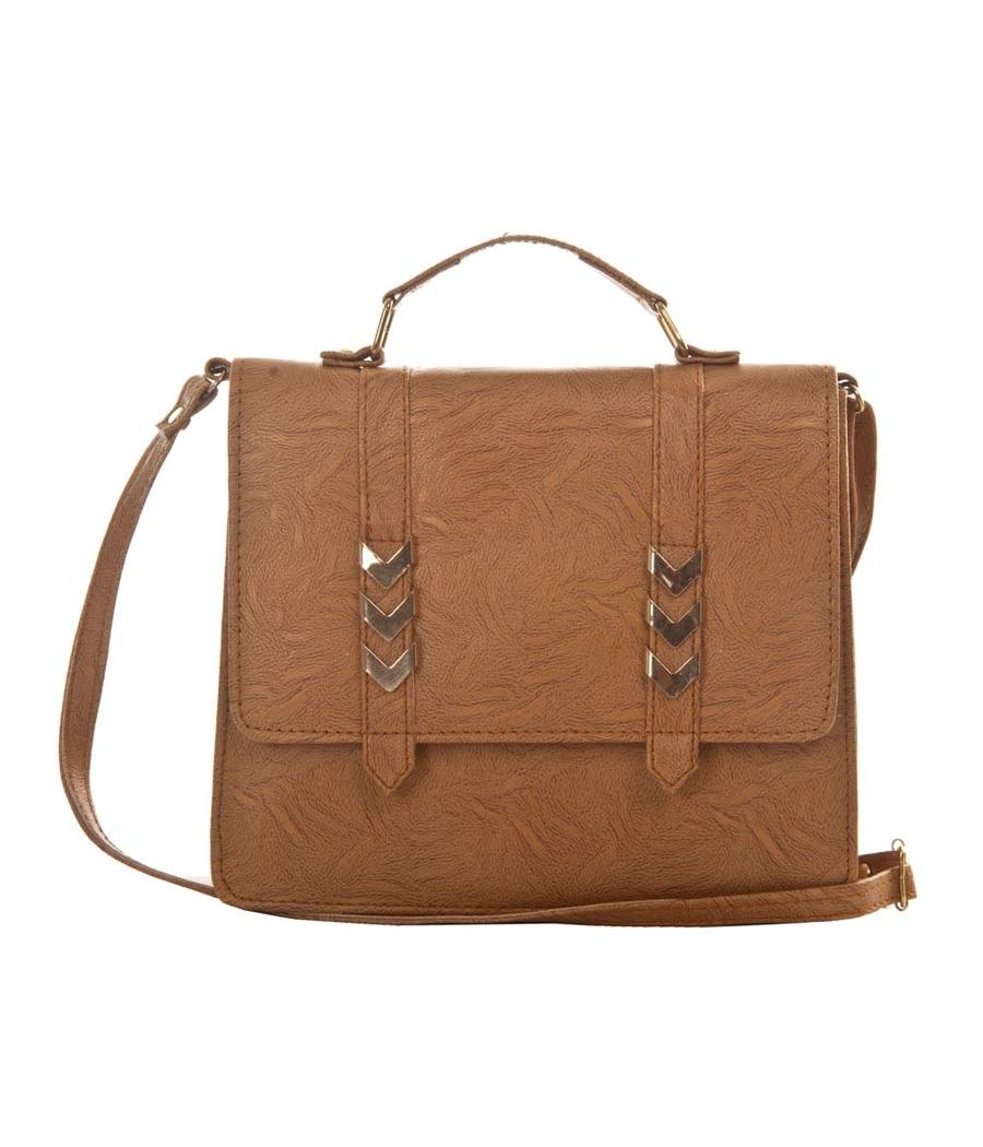 Envie Faux  Leather Beige Coloured Magnetic Snap Embellished Sling Bag