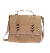 Envie Faux Leather Solid Cream Magnetic Snap Crossbody Bag