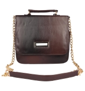 Aliado Faux Leather Embellished     Black and Brown Magnetic Snap Closure Crossbody Bag