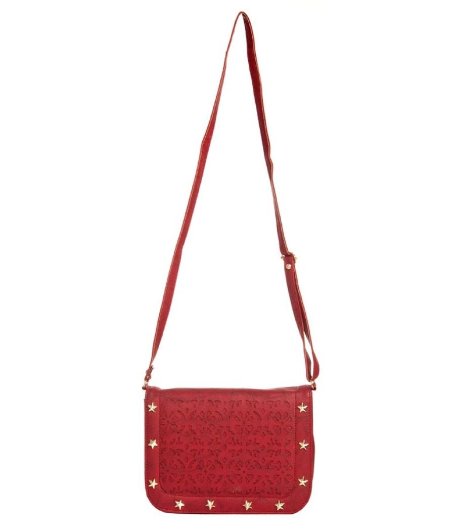 Envie Faux Leather Pink Coloured Magnetic Snap Embellished Sling Bag