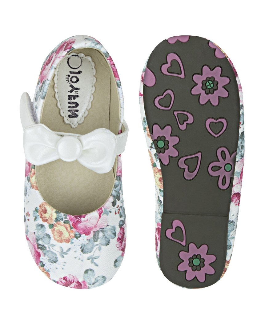 Joy n Fun Printed Leather Front Strap with Bow White Party Wear Shoes for Baby Girls