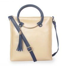 Aliado Polyester Beige & Blue  Zipper Closure  Sling Bags