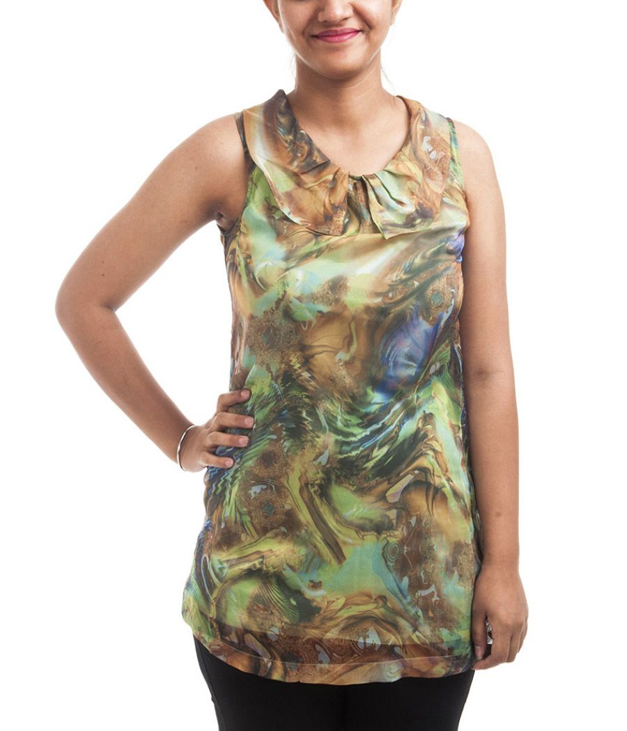 Wills Clublife Crepe Plain Tie n Dye Multi Coloured Round Neck Sleeveless Casual Tunic