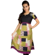 Printed Black & Green Cotton Kurta
