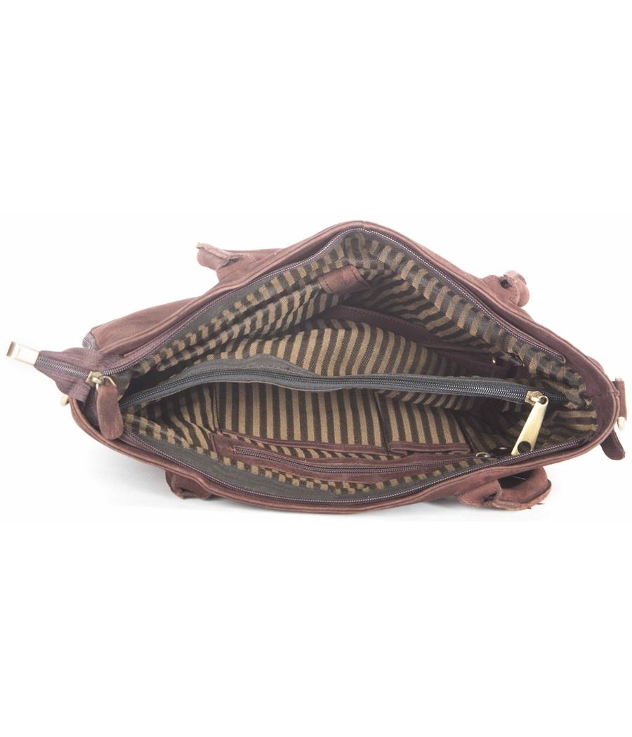 Buck Leather Brown Handbag