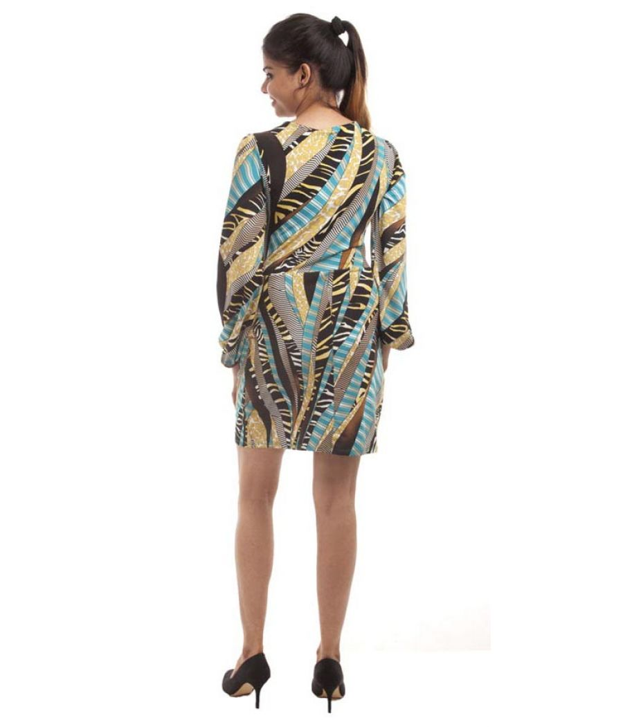 Etashee Certified Viscose Abstract Print Multi Colour Crossover Design Shift Dress