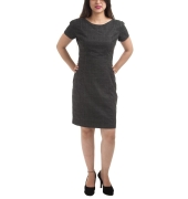 Van Heusen Stretch Knit Plain Checkered Black & Grey Melange Formal Shift Dress