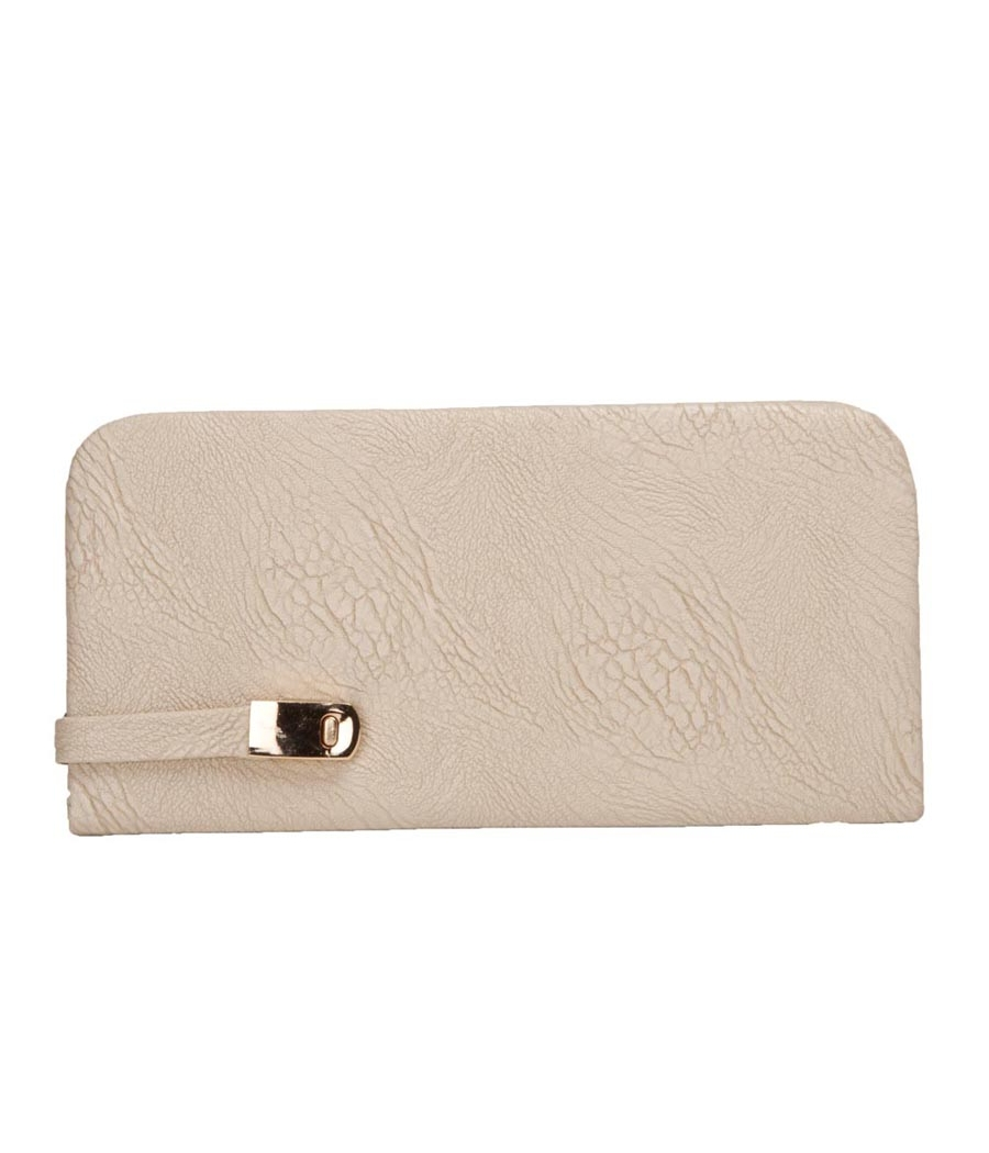 Envie Faux Leather Cream Colour Magnetic Snap Clousre Minaudiere Style Clutch