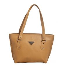 Aliado Faux Leather Solid Beige Zipper Closure Tote Bag
