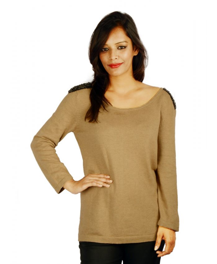 Jaeger Brown Embellished Shoulder Jumper Online For Women In India Etashee