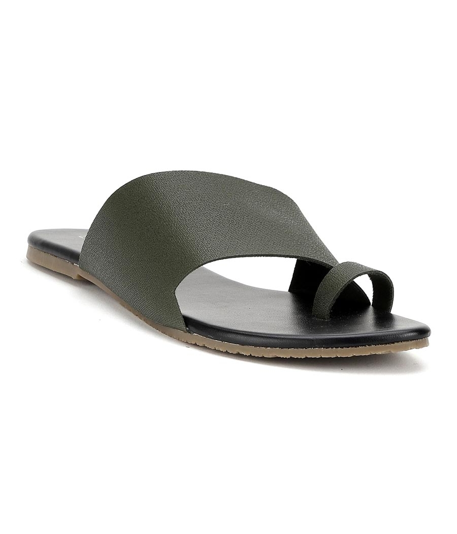 Estatos Olive Colour Broad Strap Open Toe    Casual Flats